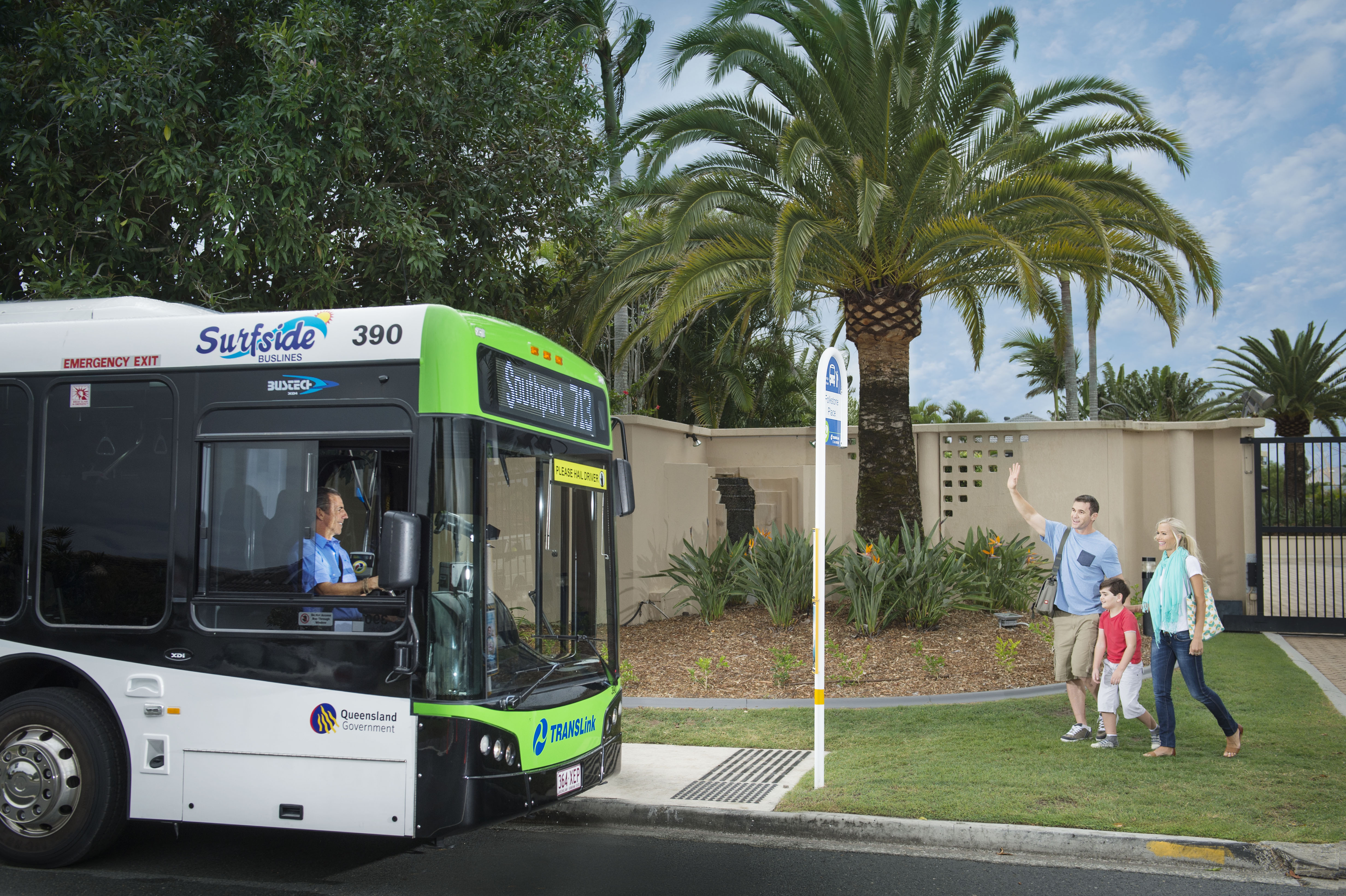 People using Translink Buses and Trams at the Gold Coast in Queensland