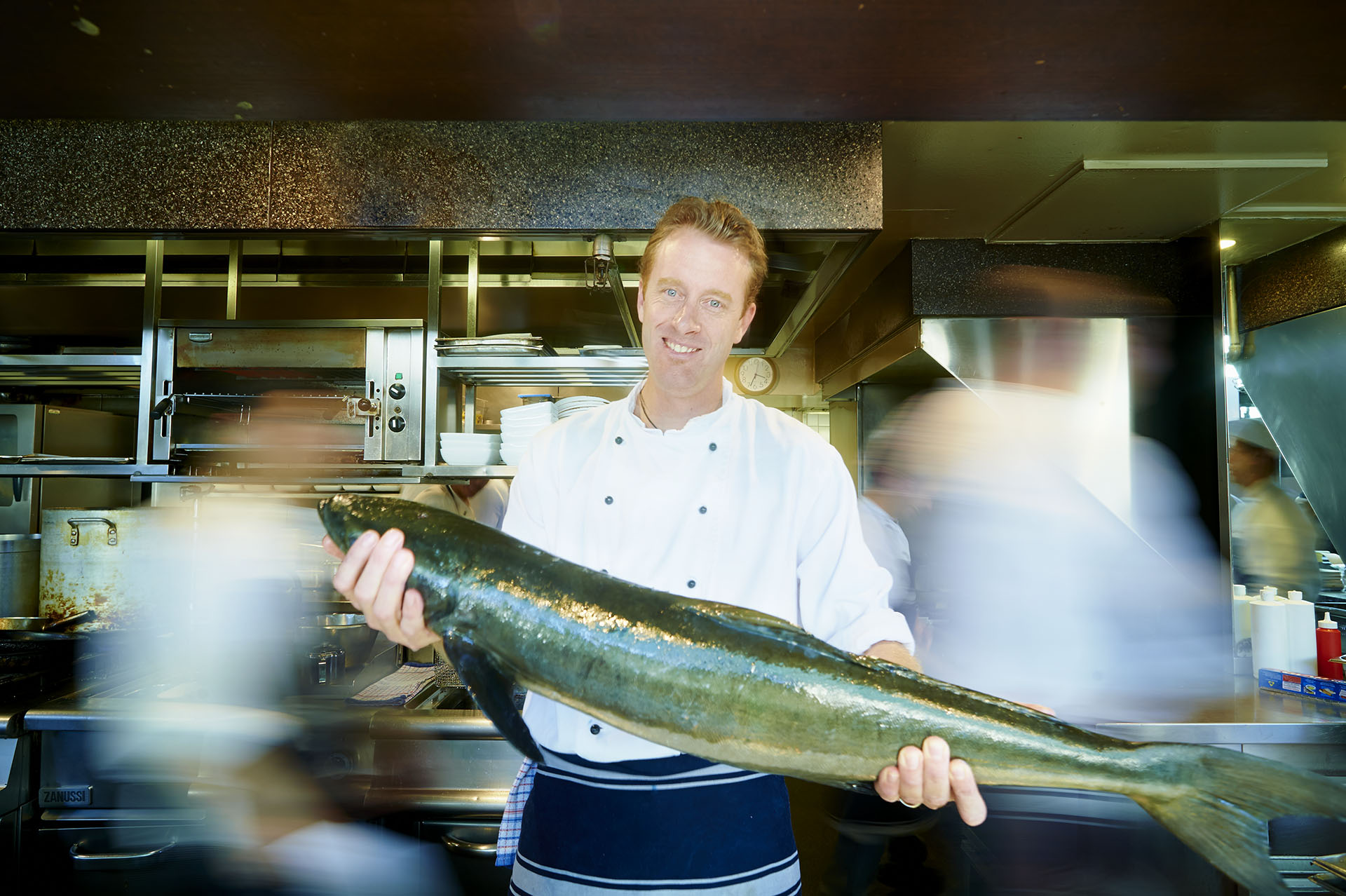 Photographs of Chef Matt Bates preparing Cobia for Pacific Reef Fisheries at Cafe Sydney, Circular Quay, Sydney