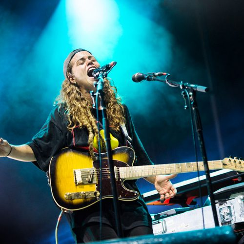 Tash Sultana performing at the Triple J's One Night Stand in Mount Isa