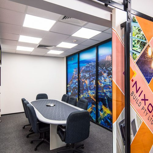 Interiors of the fit-out at Grant Broadcasters studio in Townsville.